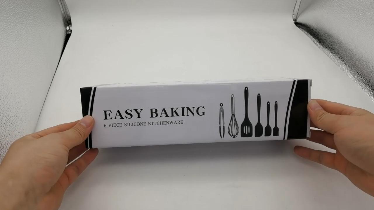 아마존 베스트셀러 귀여운 주방 조리기구 6Pcs 베이킹 및 과자 도구 혼합 버터 집게 브러쉬 최고의 실리콘 주걱 세트