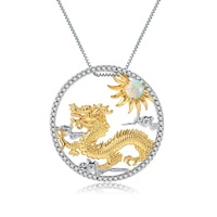 Abiding Gold Pendant Natural Opal 925 Sterling Silver Jewelry Flying Dragon Chinese Zodiac Sign Pendant Necklace For Women
