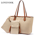 LOVEVOOK women fashion canvas tote bag hot sale custom designer ladies canvas handbag set crossbody cellphone bag and wallet