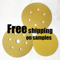 German production line Hook and Loop or Psa Backing P60 - P800 5 inch gold colour abrasive sanding paper discs Sandpaper Disc