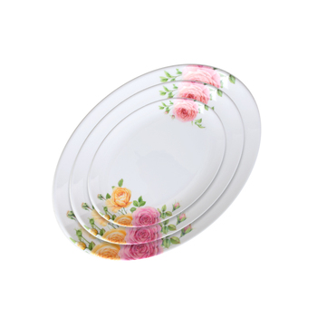Chinese Hard Plastic Melamine Fish Design Dinner Plates, Pink Country Rose Pattern Hard Plastic Plate For Serving Fish