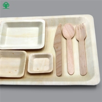 New design biodegradable flatware disposable wooden tableware set with high quality