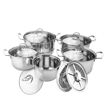 12pcs wholesale non stick soup stock steam cooking pot stainless steel cookware sets casserole set with lid