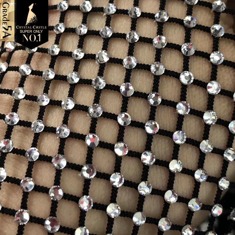 クリスタルキャッスル 30*120 センチメートル SS16 ビッグ石グリッターカラフルなラインストーンメッシュ生地ガラストリミングドレス