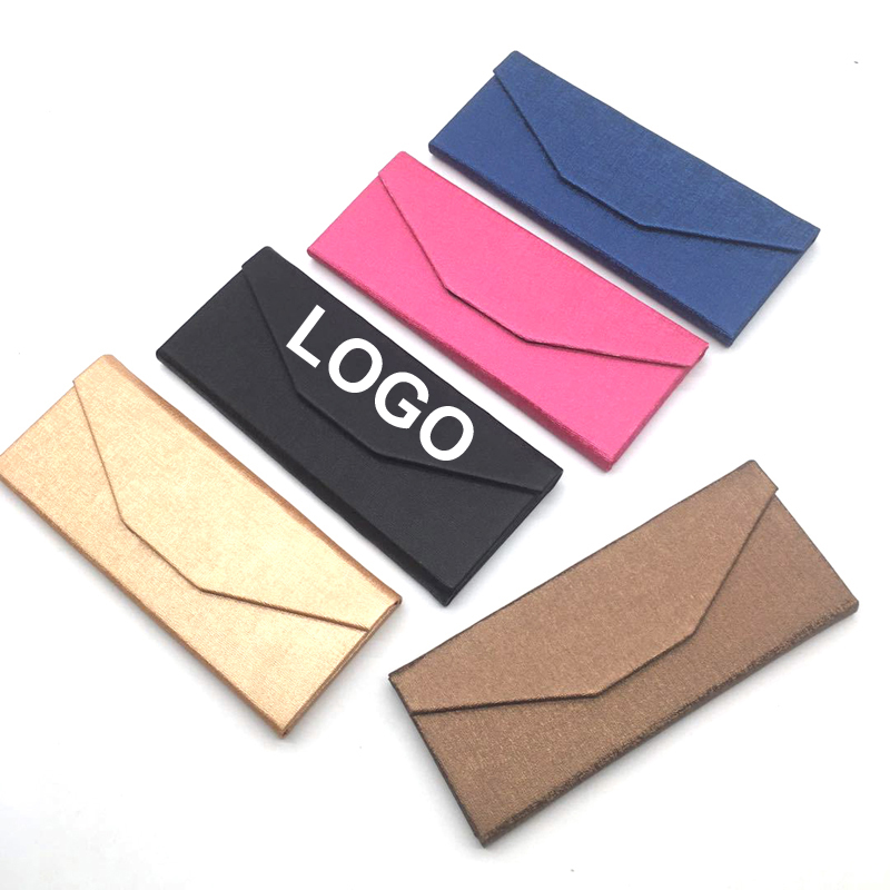 Logo custom Slim foldable magnet fording cheap packaging cover foldaway box leather box sun glasses sunglasses case, Black