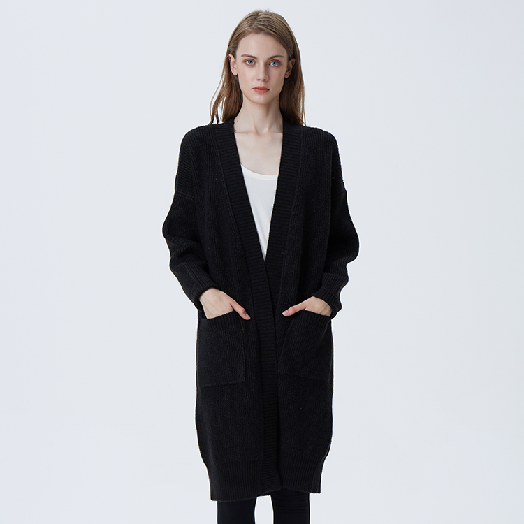 Wholesale Women <strong>Black</strong> <strong>Long</strong> Sleeve <strong>Cardigan</strong> Knitted Sweater <strong>Cardigan</strong> with Pockets