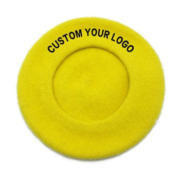 Fashion custom embroidery logo plain yellow warm beret woman