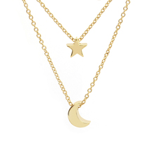 New Products Gold Plated Star Moon Layer Boho Necklace