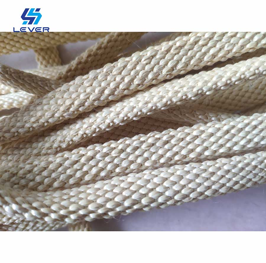 customized 12 * 4mm Kevlar Braided Cord Rope used on Glass Tempering Plant Quenching section