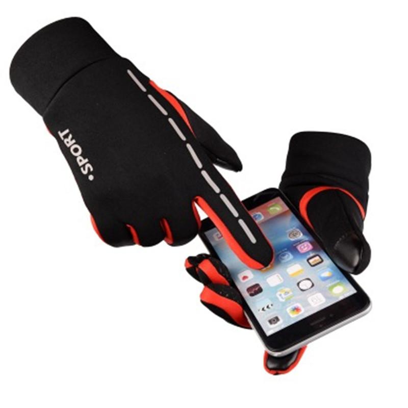 新秋冬スポーツサイクリング手袋反射暖かいタッチスクリーン防水男性と女性 5 本の指厚い屋外自転車