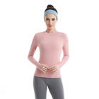 Wholesale New Design Pink Fitness Clothing One Piece Shirt Tracksuits Yoga For Women Long Sleeves