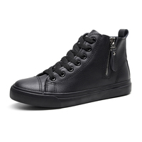 New poly urethane street shooting small white female work shoes pure black casual zipper high black shoes