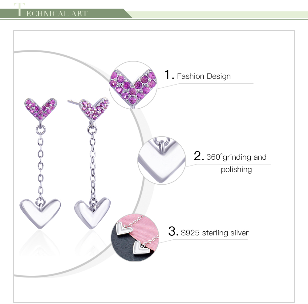 F.ZENI 925 sterling silver double heart new fashion gold dangle women unique earrings 2020 for women