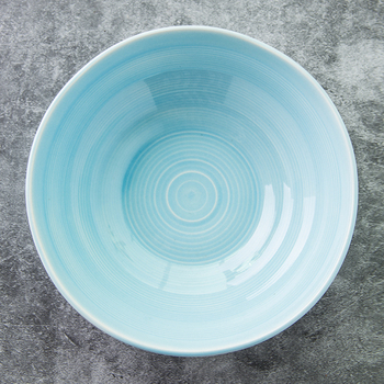 Home tableware high quality cheap round dinner light blue serving porcelain decorative salad bowl