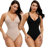 Custom Private Label Sexy Sling V Neck Push Up Chest Thong Bodysuit Shapewear For Women