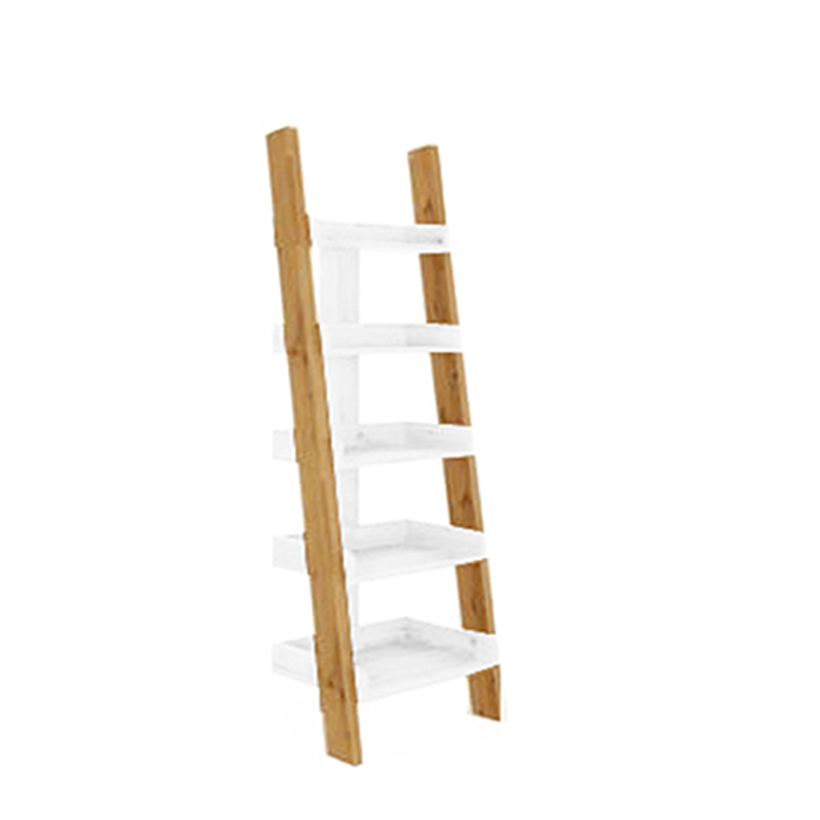 Living room storage function 5 floors display ladder book shelves wooden