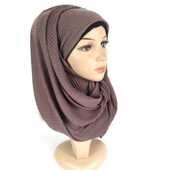Crumpled jersey cloth headscarf long towel head new hooded solid color pleated scarf