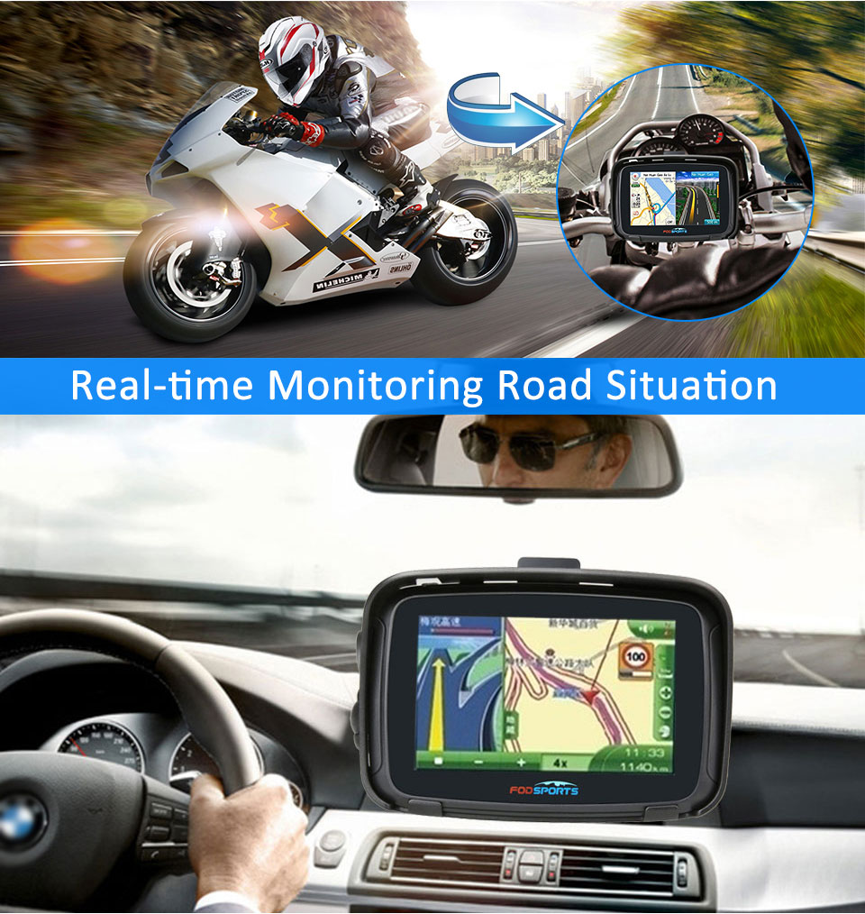 FODSPORTS IPX7 5 Polegadas 16G Android À Prova D' Água 6.0 Moto Carro Navegador GPS para o Carro Motocicleta