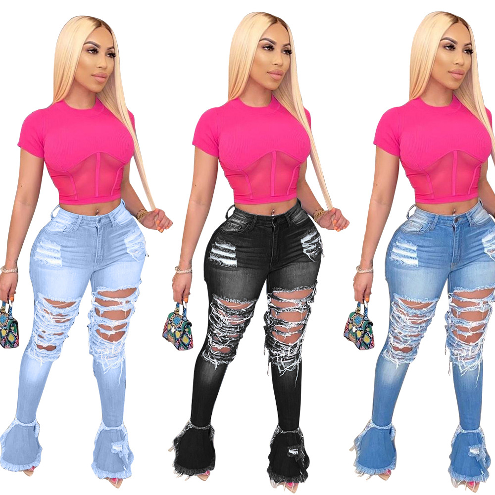 2020 New Designs Print 4XL Holes Plus Size Pants Casual Denim Stacked  Women Flare Jeans Pants