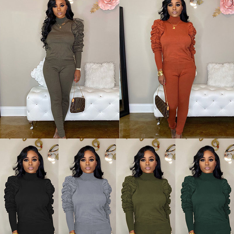 Pullover Tracksuits 2 Set Piece Set Woman Tops Sweatshirt Long Pants Ruffle Sleeve Club Suits Overalls Outfit