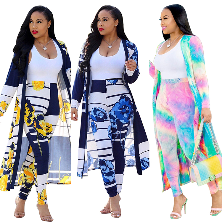 YH 2020 Summer Cheap African Flower Printed Long Sleeves Casual Dresses Two Pieces Set Woman Clothing