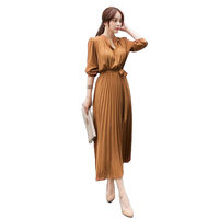 Latest elegant slim high waist stand collar lace-up korean long sleeve new fashion pleated casual summer dresses for women