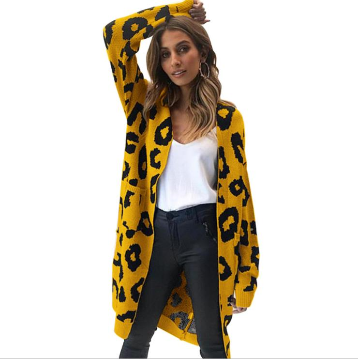 fall oversized cashmere leopard christmas cardigan knitted long sweater kimono women cardigan for women 2019