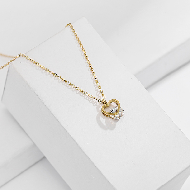 KDB2605 wholesale stainless steel heart zircon necklace