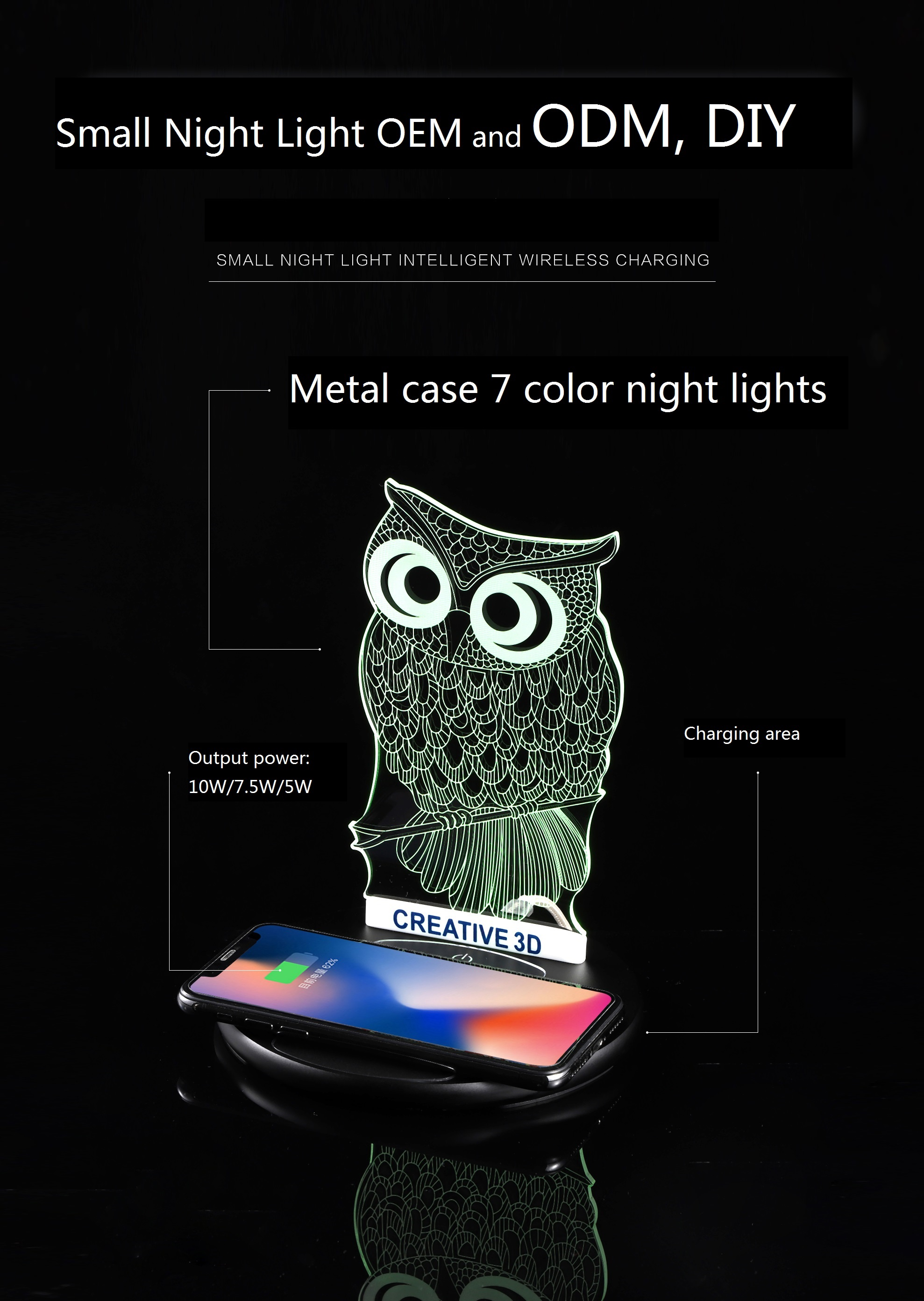 Innovative Product Qi Fast Wireless Charger OEM Design WX5 with 7 Color Night Lights Phone Chargers