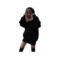 Women Custom Logo Hoodies Shirt Loose Fit Long Hooded Tunic Sweatshirt Mini Dress Pullover With Big Pockets