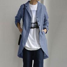 Осеннее тонкое пальто с длинным рукавом от ZANZEA, женские куртки ассиметричного кроя, повседневные Костюмы в полоску с пуговицами спереди, бл...(Китай)