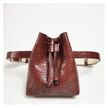 Новая модная кожаная женская поясная сумка, дикая однотонная поясная сумка с крокодиловым узором, винтажная женская маленькая нагрудная су...(Китай)