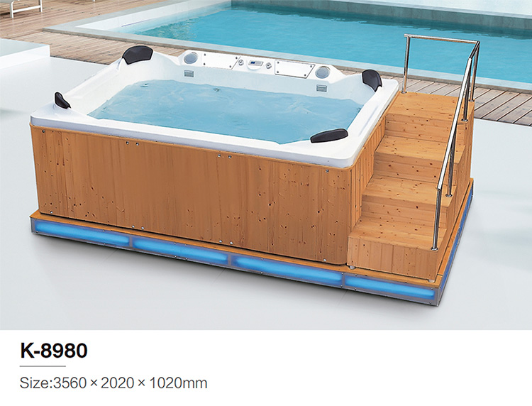 Freestanding Large outdoor massage whirlpool hot tub with stairs