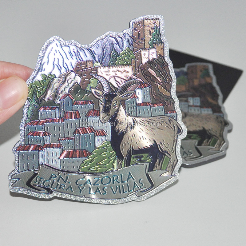 Various Customized aluminium foil sticker,tourist souvenir magnet, souvenir photo magnets
