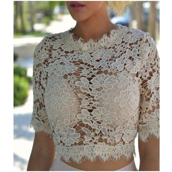 2019 Dropship Cloth Floral Lace Crop Top Women Casual Apparel