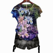 Женская футболка с цветочным принтом размера плюс 4XL, осень 2020, футболки с длинным рукавом и графическим принтом, тонкая футболка с круглым в...(China)