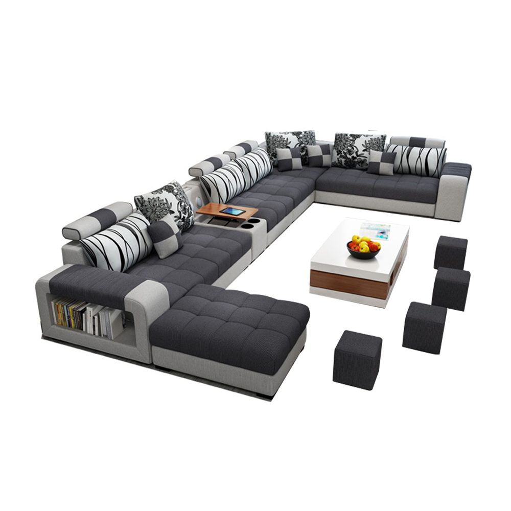 Comfortable U Shape Fabric Sectional Sofa Couch Living Room Sofa Set Design Large Sofa With Bluetooth Stereo