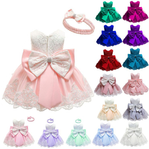 Wholesale lovely bowknot girls party dresses Christmas pageant baby girls dress designs embroidered baby girls summer dress
