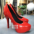 Fashion red fiberglass lady high heel shoe sculpture for shop mall decoration