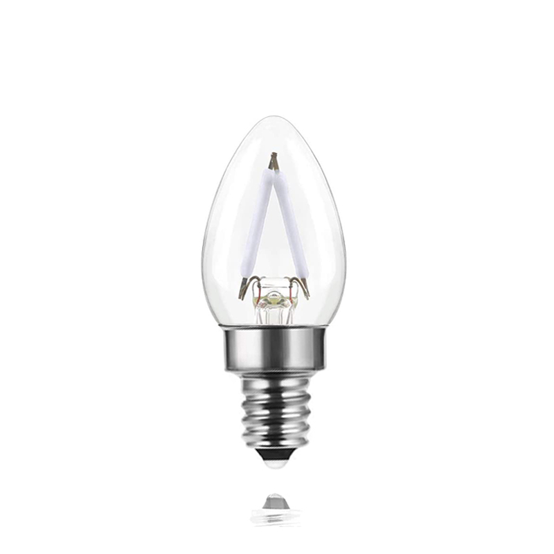 2W E12 Base Vintage Edison Christmas Holiday Lighting Clear C7 Blue Light Candle Led Filament Bulb For Home