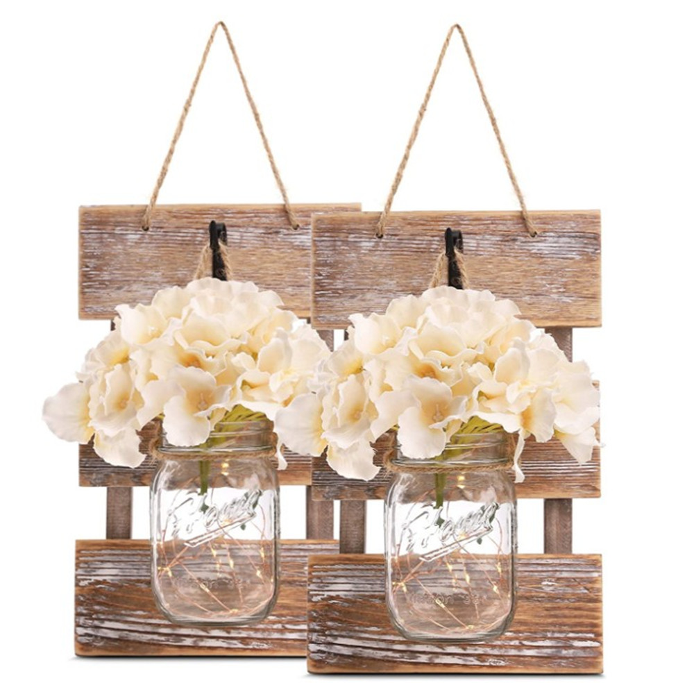 Rustic Brown Mason Jar Sconces for Wall  Decorative Chic Hanging House Decor Mason Jars with LED Strip Lights