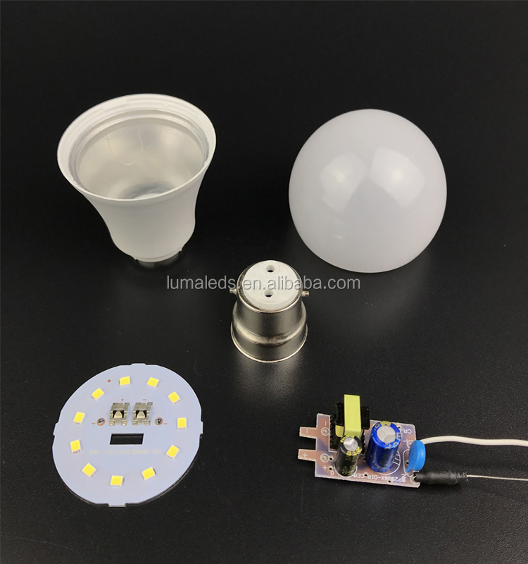wholesale china Factory price A60 9w 12w 15w 18w SMD2835 Aluminum and PC SKD LED bulbled bulb raw material