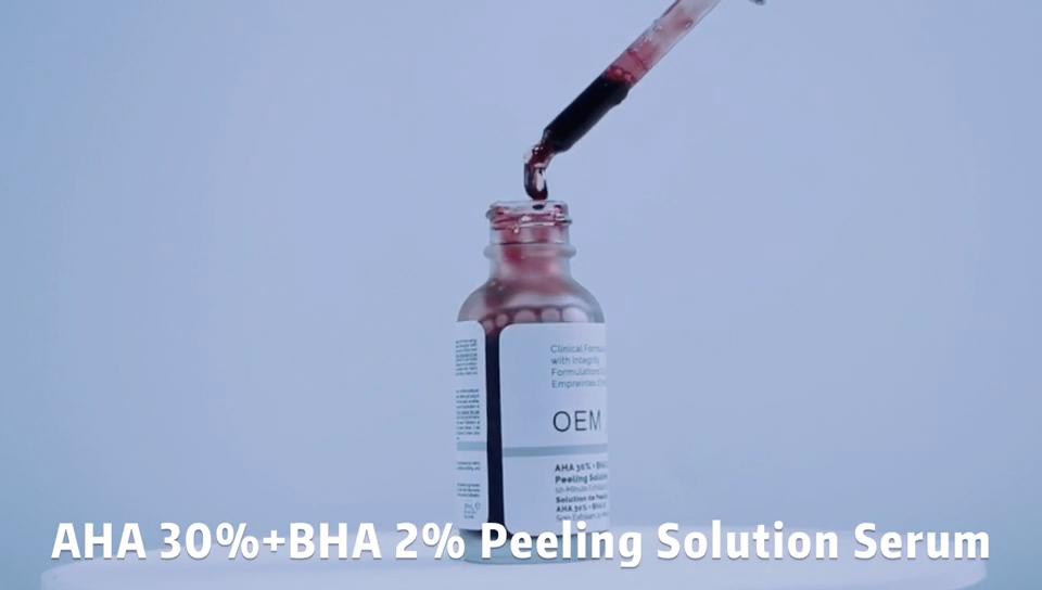 निजी लेबल त्वचा की देखभाल धब्बा अहा 30% BHA 2% छीलने समाधान अहा छील ब्राइटनिंग सीरम साधारण