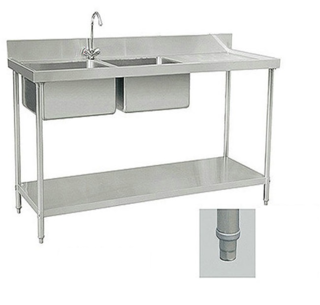Restaurant Kitchen Equipment High quality double bowl kitchen sink with drainboard