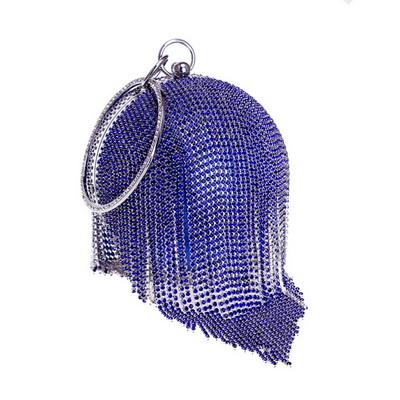 Серебряные бриллианты Стразы круглые вечерние сумки для женщин 2018 модный мини-клатч с кисточками сумка дамская сумочка с кольцом клатчи(Китай)