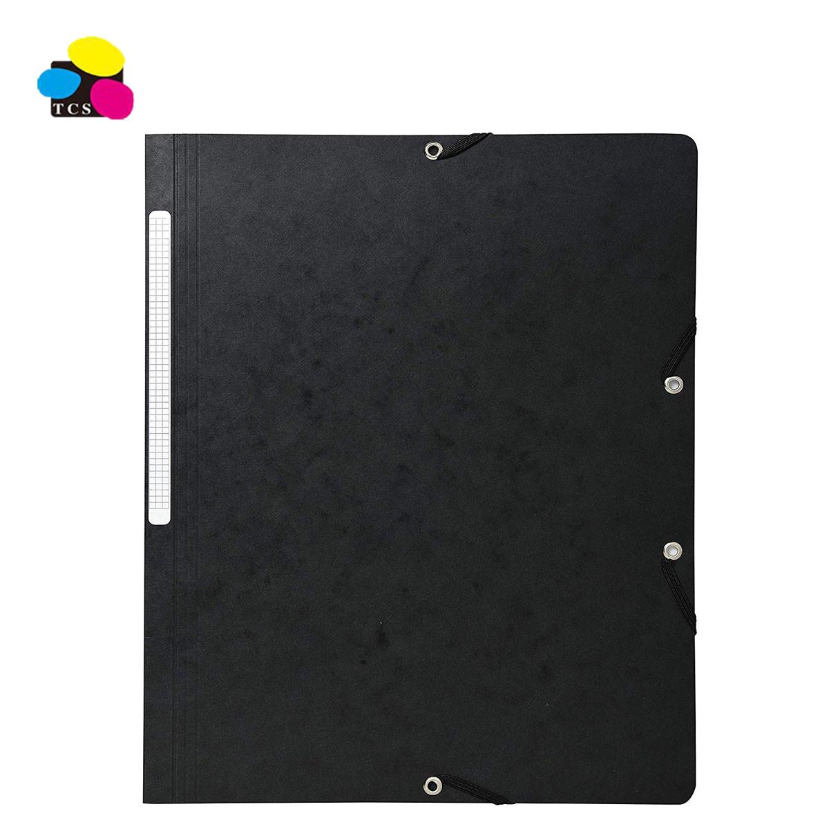 stationery folder supplier 350G Pressboard Holding 200 Sheets Elastic Bands Folders Without Flap