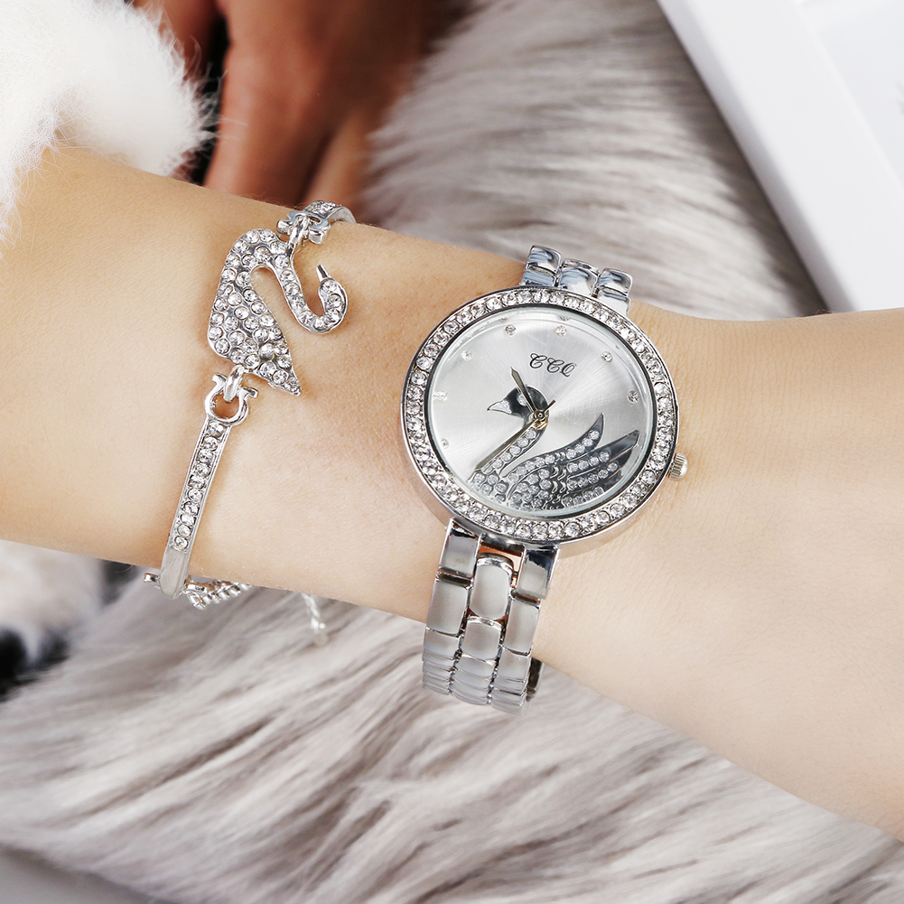 Hot Selling CCQ Brand Women Ladies Girl Diamond Quartz Wrist Gift Set Watch Bracelet JAW-0815