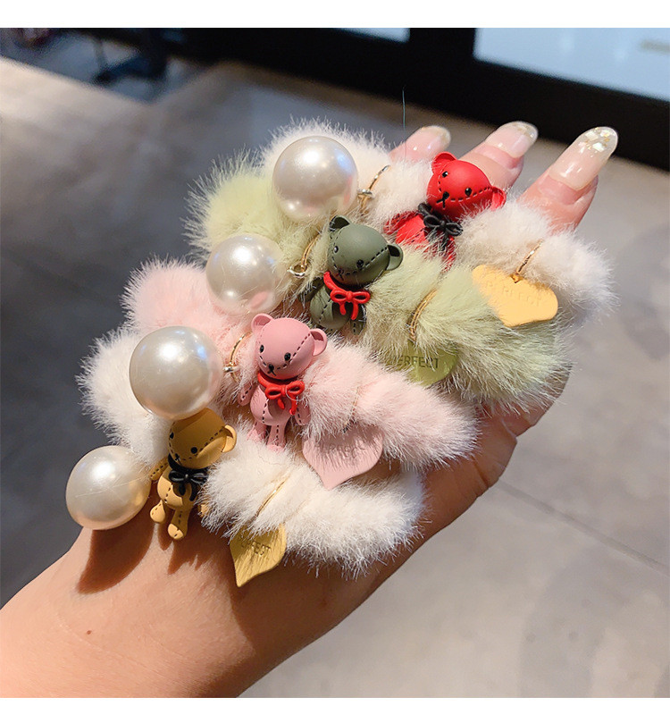 Latest Candy Color Sweet Girl Artifical Fur Women Winter Hair Accessories Elastic Hair Tie
