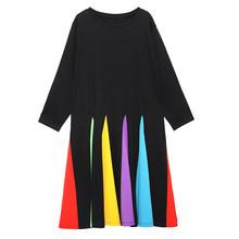Женское платье EAM, разноцветное платье в полоску с длинным рукавом и круглым вырезом, весна-осень 2020, 1D621(Китай)