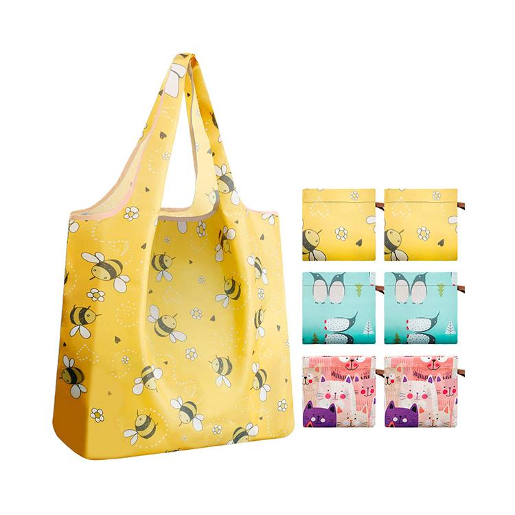 Оптовая продажа Экологичные ручные стильные многоразовые складные хозяйственные сумки на заказ